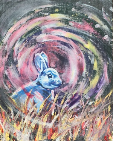 Down the Rabbit Hole. Canvas panel framed in authentic barnwood. $80