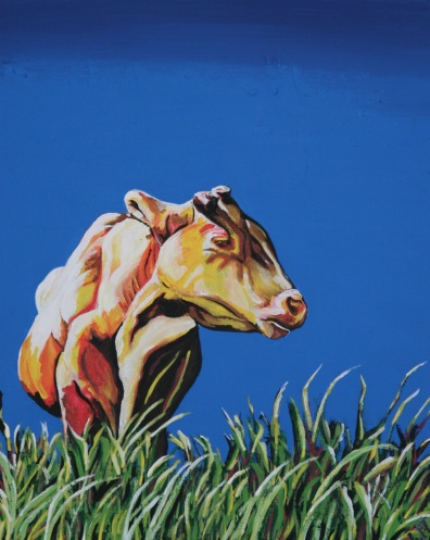"Cow in Spain. $200. 11""x14"" canvas panel framed in authentic barnwood."
