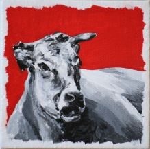 """Black, white and red. $65. 4""""x4"""" gallery wrap canvas"""