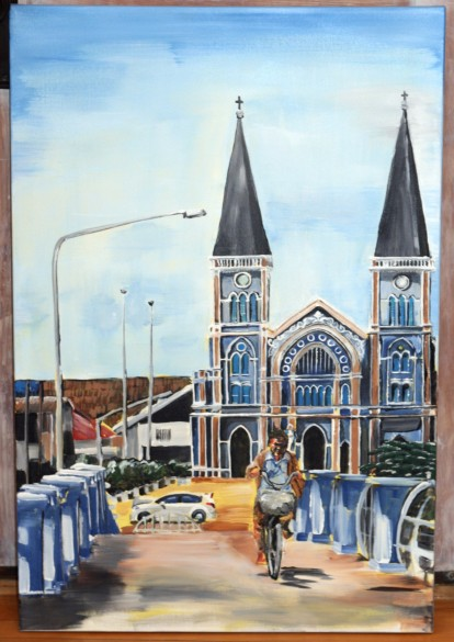 """Cathedral in Chanthaburi. $750. 24""""x 36"""" gallery wrapped canvas."""