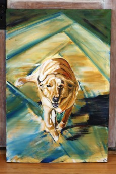 """A portrait of Sandy. 24""""x36"""". Not for sale"""