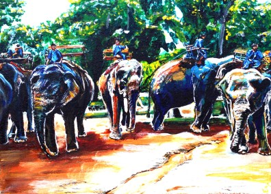 """Elephant tourism in Thailand. $225. 11""""x14"""" gallery wrap canvas"""